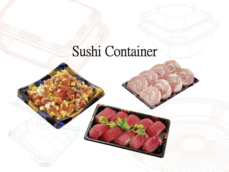 Noir Écologique de qualité alimentaire jetable de récipient en plastique de Plateau de Sushi