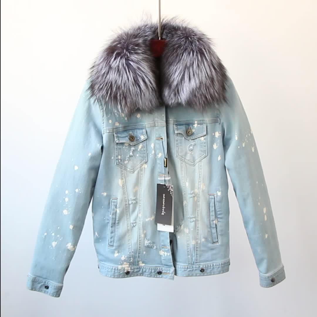 الجملة النساء الشتاء السيدات الثعلب الفراء بطانة معطف الراكون الفراء طوق جان سترة
