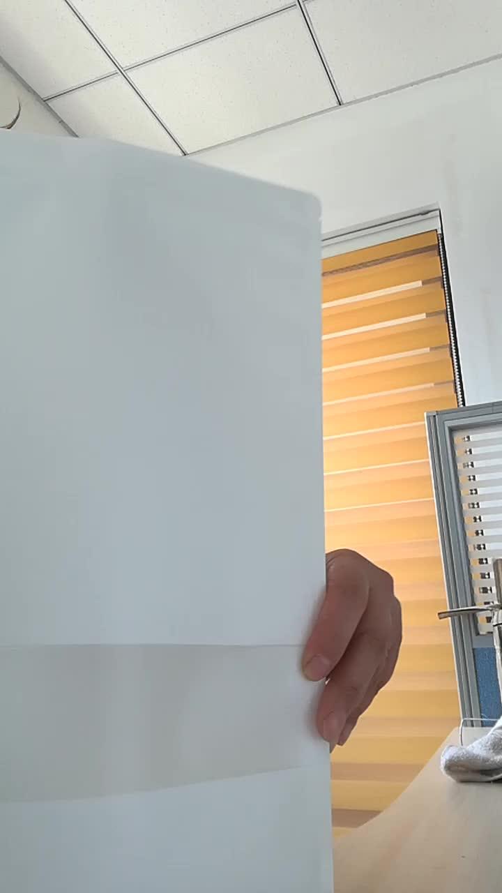 14*20 + 8cm सफेद क्राफ्ट ziplock और अर्द्ध-स्पष्ट खिड़की के साथ थैली खड़े हो जाओ