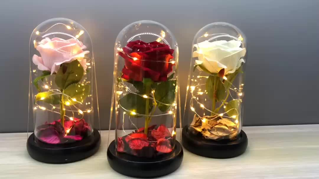 High Quality gift flowers Artificial Rose in glass dome with led light festival  Valentine's day flowers artificial