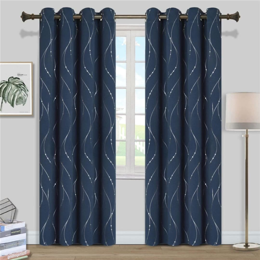 Grommet Top Blackout luxury Curtains Thermal Insulated Curtains Window Curtains with Wave Line and Dots Pattern