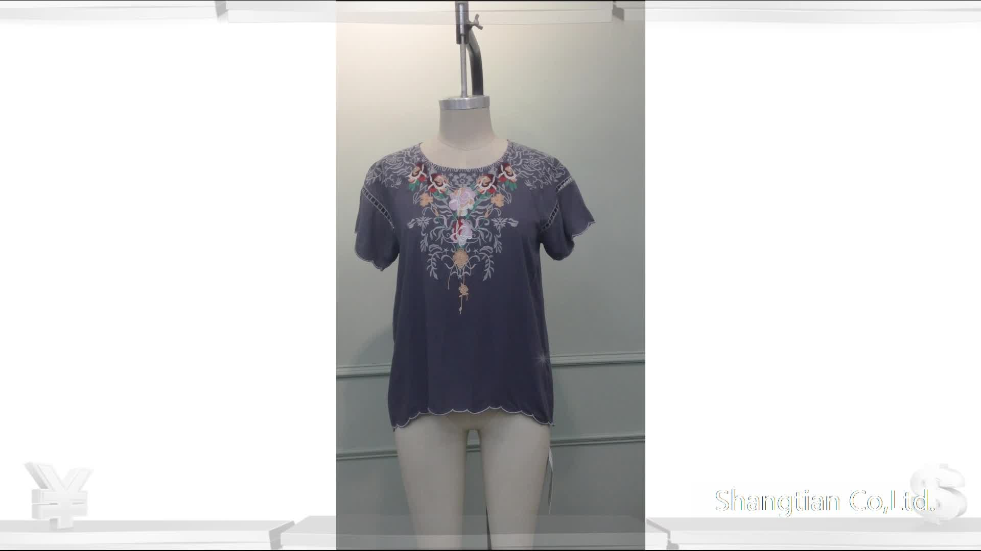 Women's embroidered tops summer ethnic blouse Sta-0033