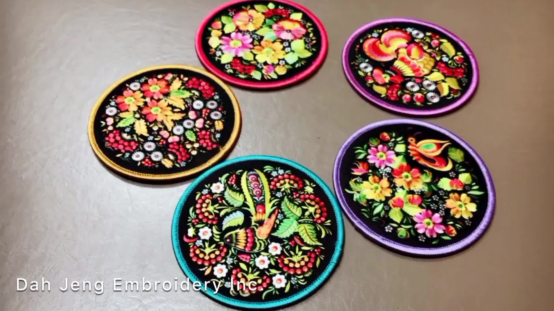 10cm Embroidery Sublimation Printing Flower Design Patch Coaster with silicone dots back