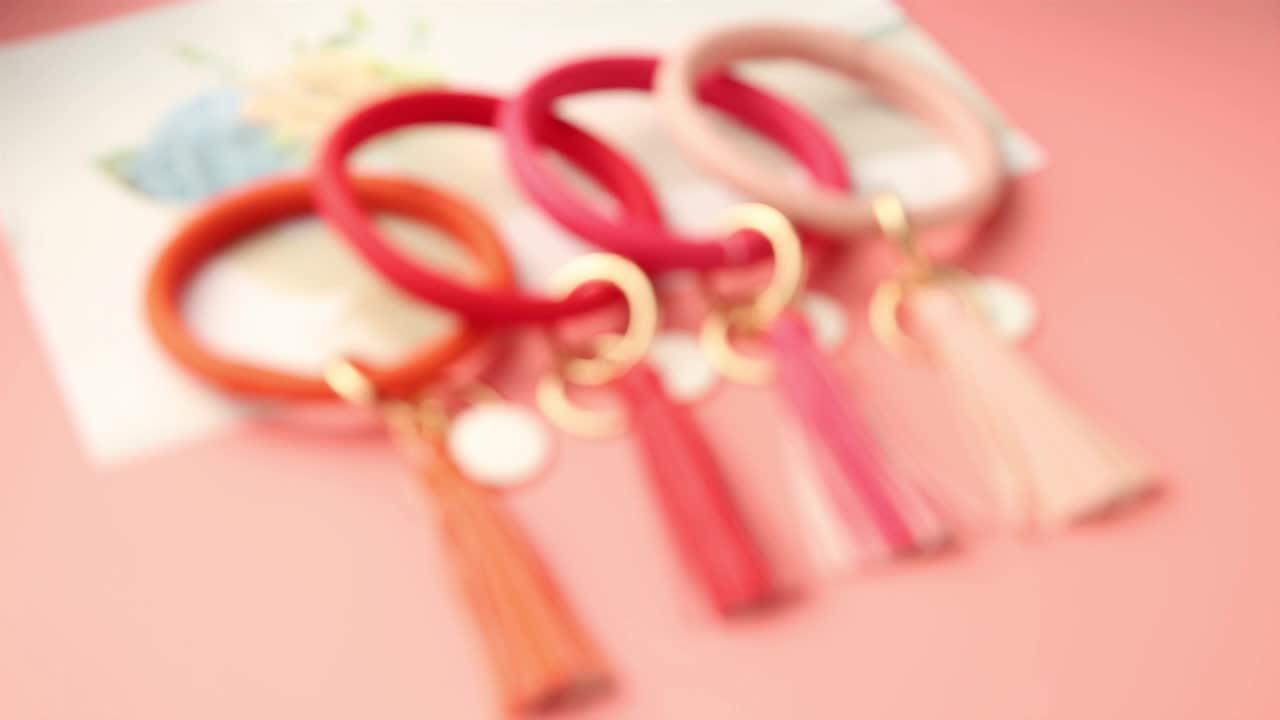 Gros Léopard Porte-clés bracelet en cuir Couleur bracelet porte-clés grand O PU bracelet en cuir porte-clés