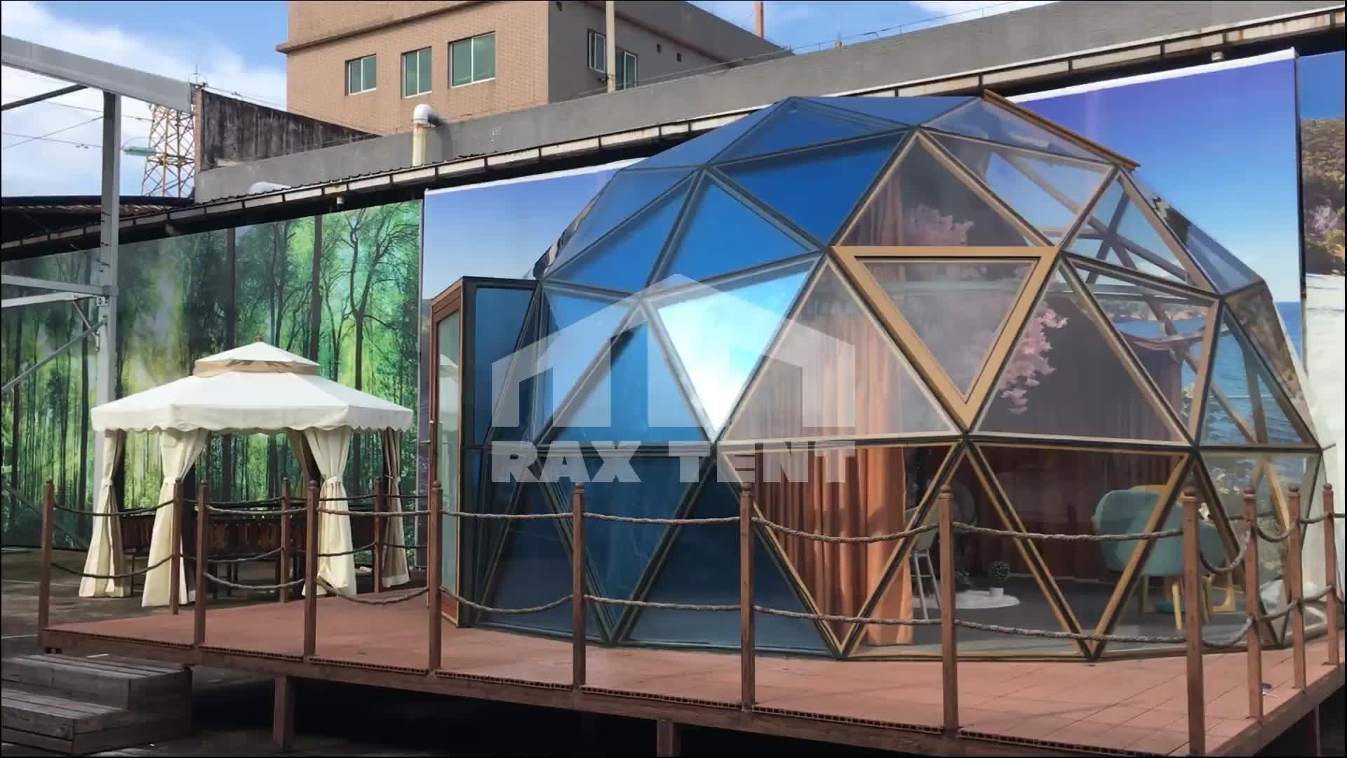הגיאודזית זכוכית כיפת בית יורט כיפת אוהל משפחה גדול קמפינג אוהל ונופש יכול להשתמש עבור כל מזג אוויר כל השנה
