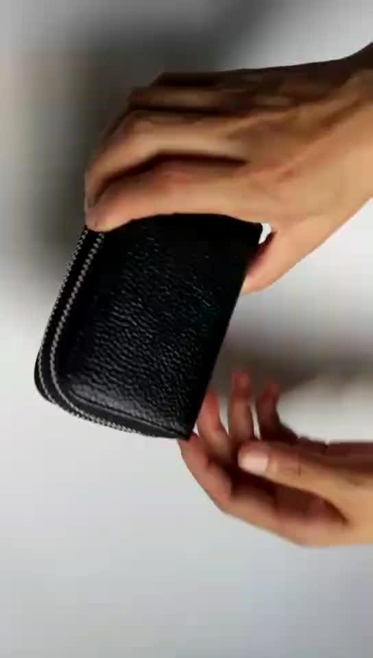 Accordion Women's Genuine Leather RFID Blocking Credit Card Holder Zip Around Small Wallet For Women