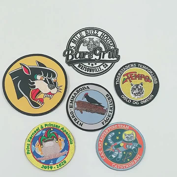 wholesale shape sew on souvenir carton embroidered patches patch