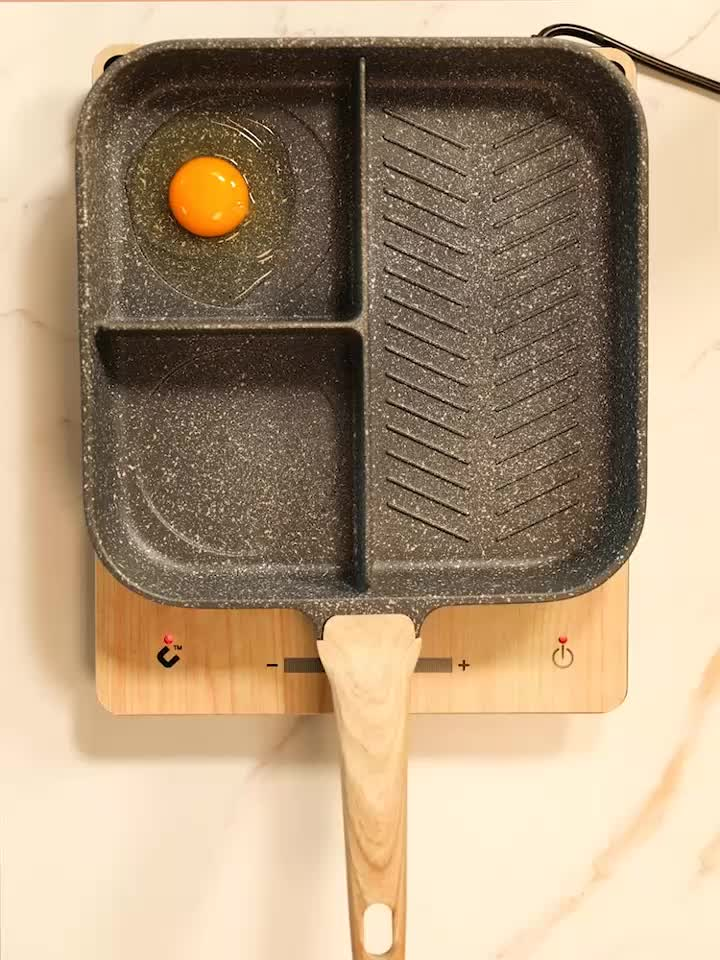 Ejoyway 3 Sectie Ontbijt Pan Non Stick Coating Fry Pan 3 In 1 Koekenpan