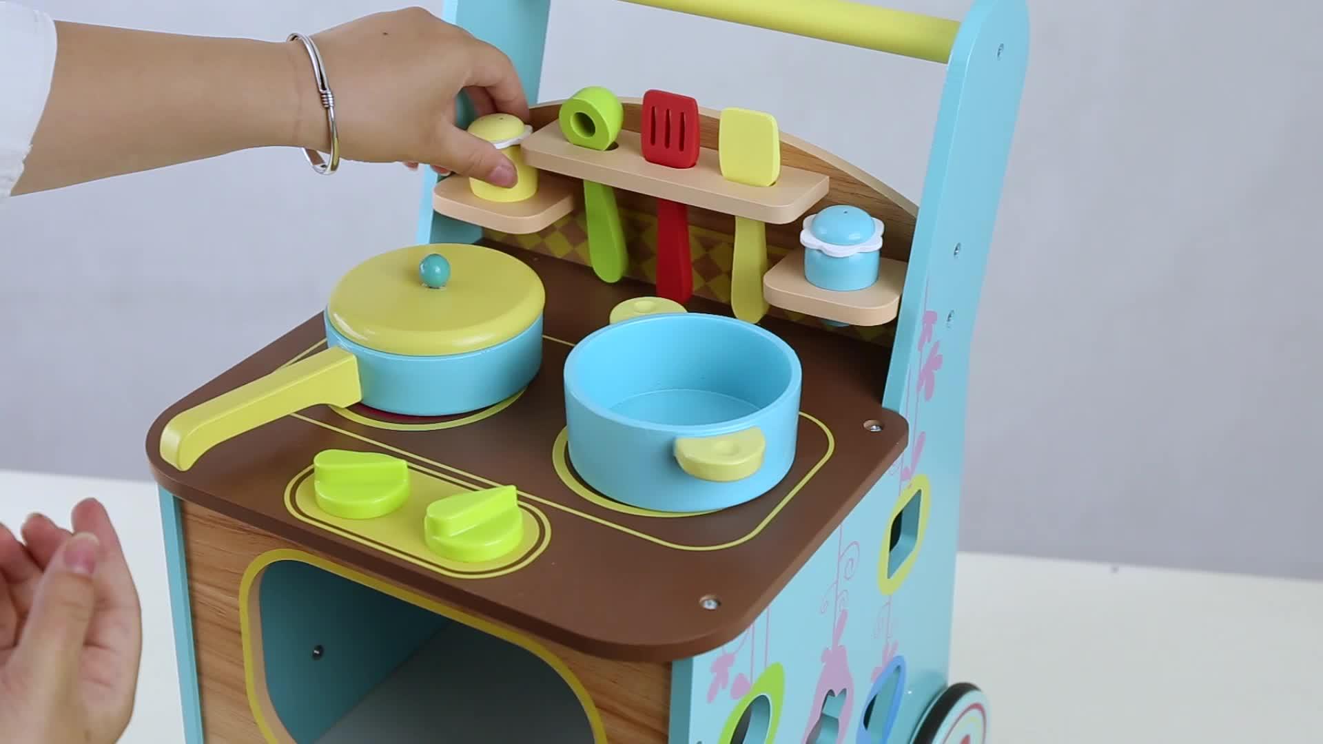 2018 New Multifunction Kitchen Set Toy Children Wooden Baby Activity ...