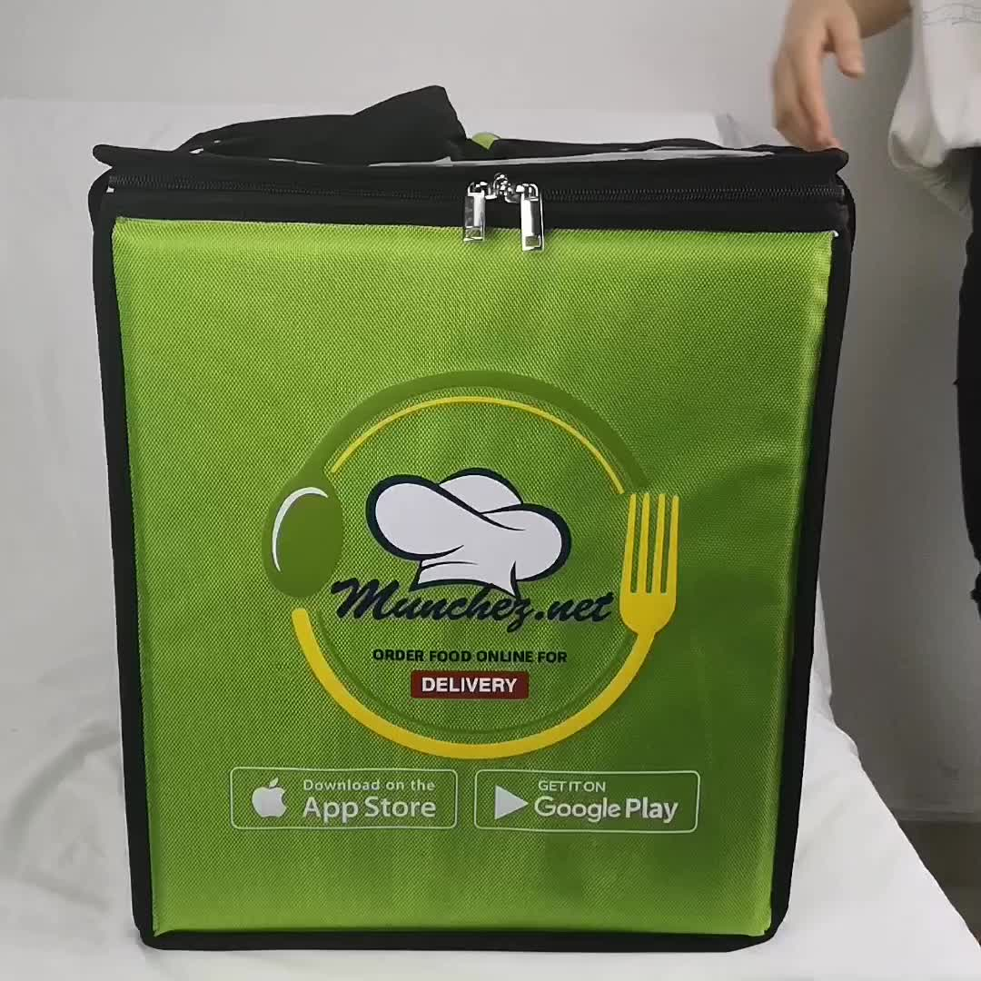 Large Motorcycle Aluminium Foil Thermal Food Delivery Bag Cooler Pizza Sandwich Bike Insulated Food Delivery Backpack