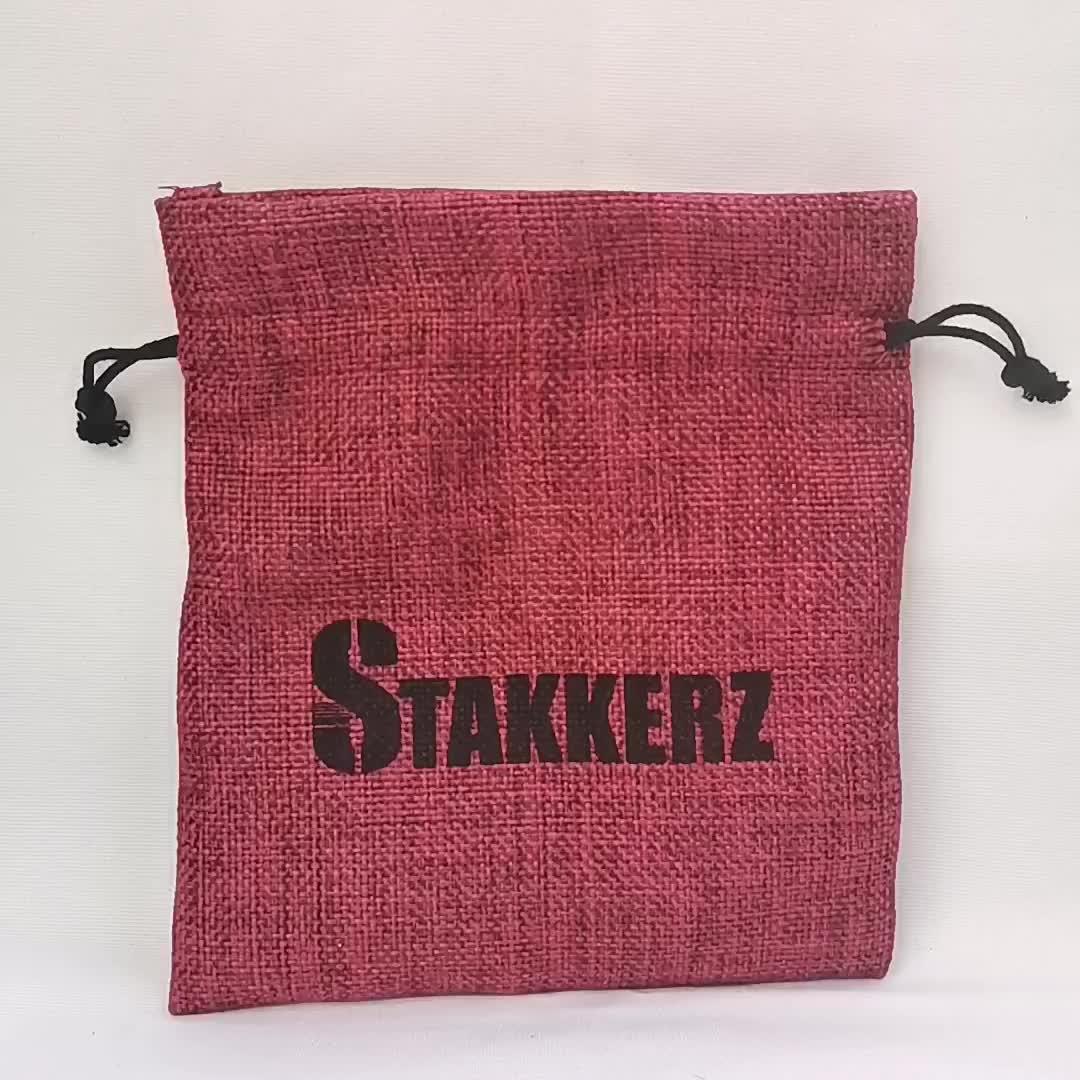 Wholesale small screen printed burlap jute custom gift packaging bag