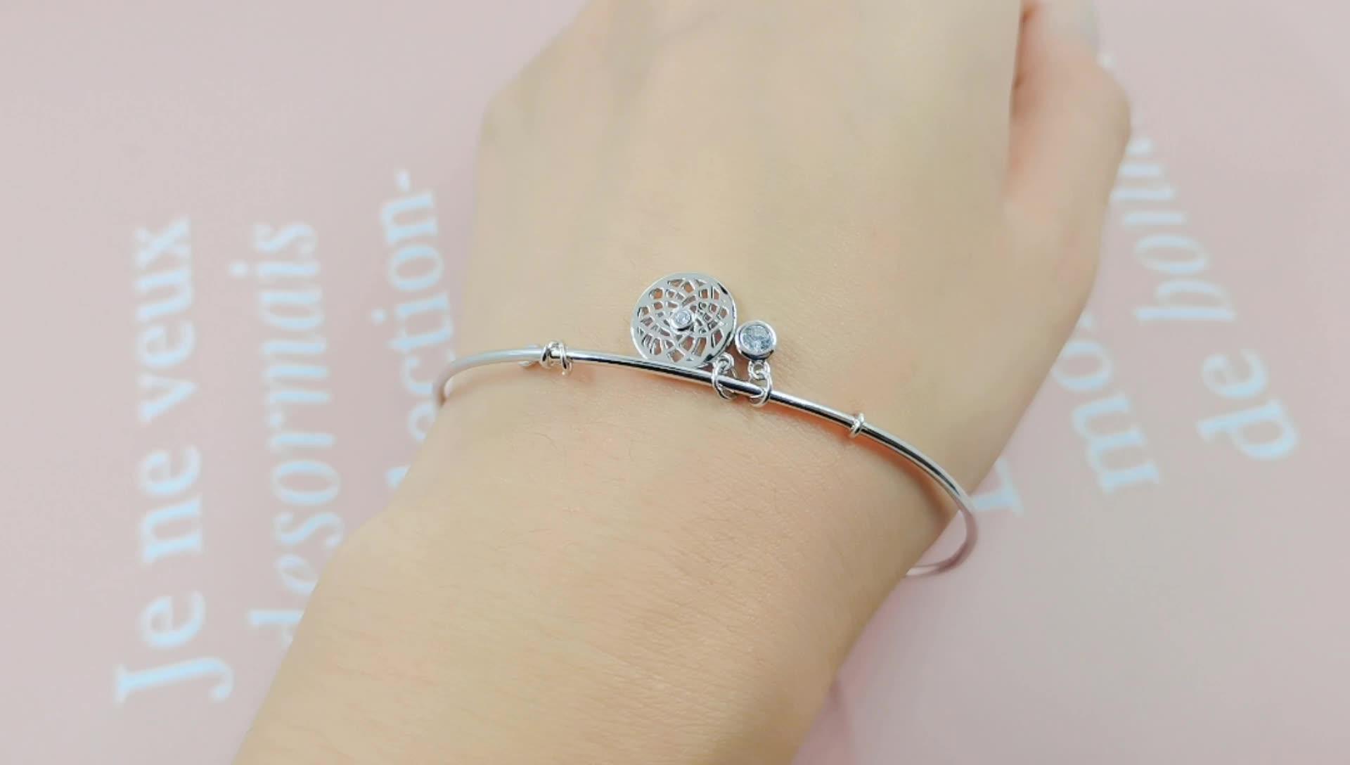 Hip hop style women men sterling silver jewelry bangle for season flower pendant charm bangle