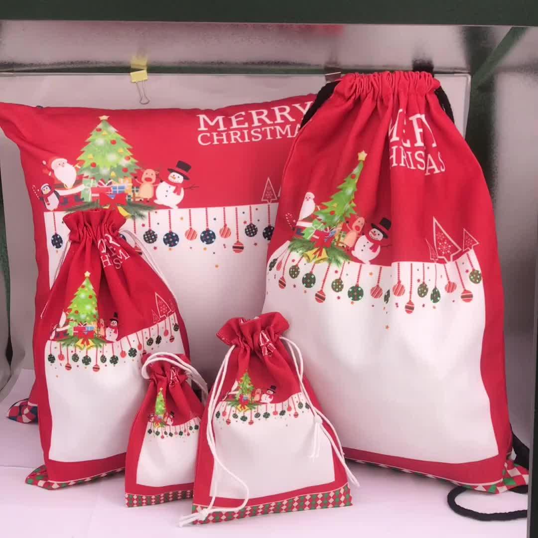 नई गर्मी हस्तांतरण मुद्रण उच्च बनाने की क्रिया क्रिसमस Drawstring उपहार बैग