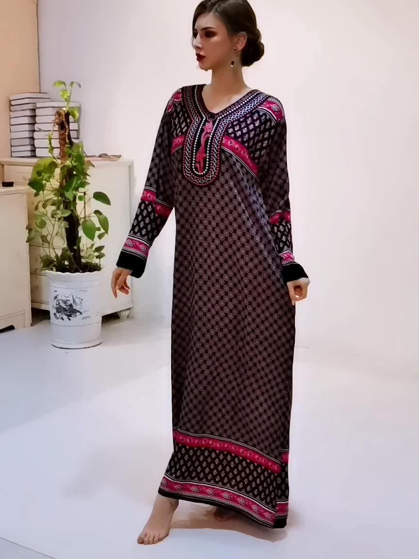 The Egyptian Women Long sleeve dress muslim wear women Islamic Clothing