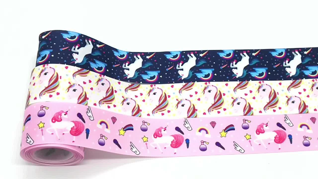 2 inch Unicorn Pattern Thermal Transfer Printed Polyester Grosgrain Hair Ribbon for DIY Bows