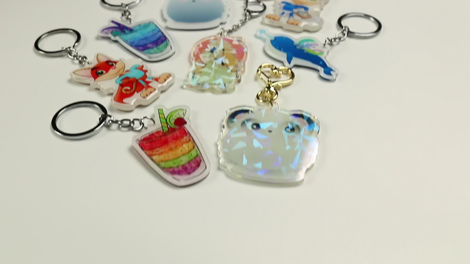 Bomaijie Plástico Personalizado Holográfica de Alta Qualidade Encantos de Acrílico Impressas Personalizadas Holograma Transparente Chaveiro Com Anime