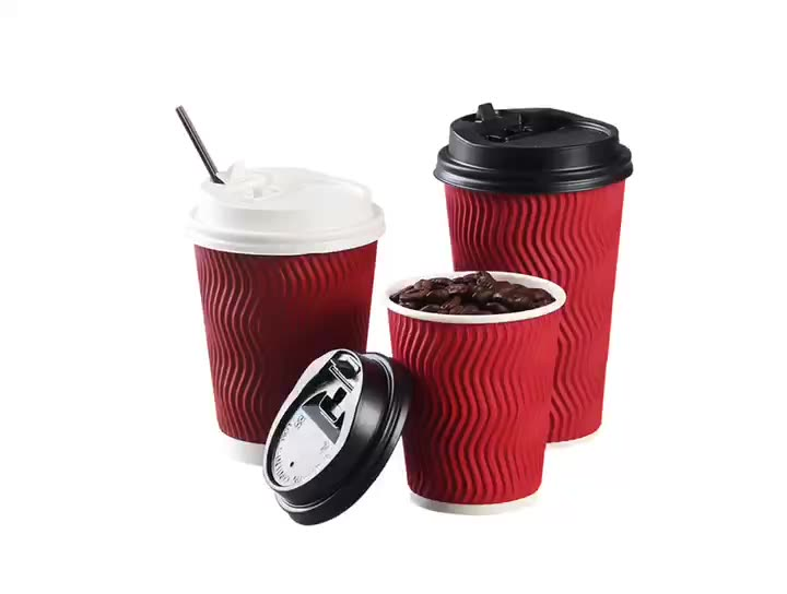 Leakage Proof Paper Drinking Cups with PP Lid and Sleeve