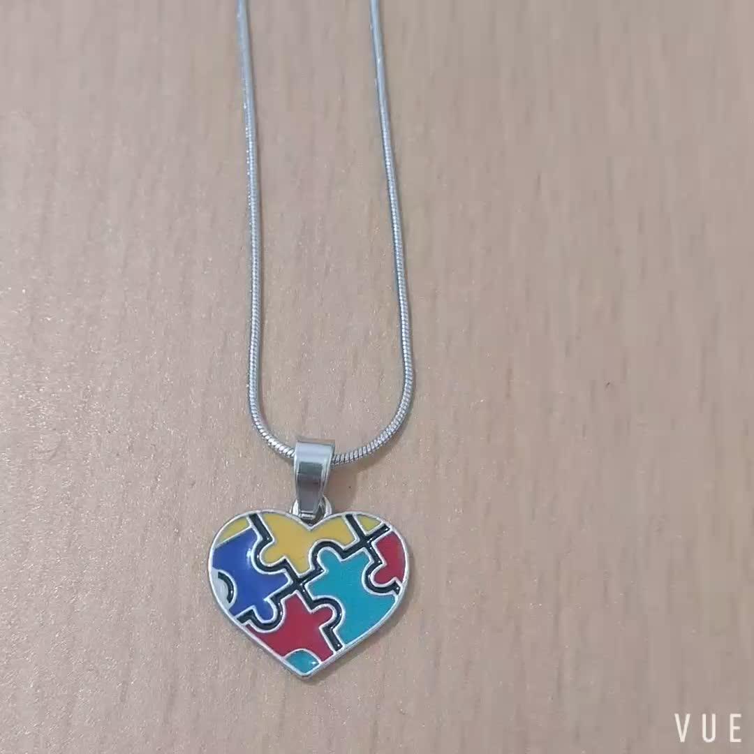 Autism Awareness Puzzle Heart Shape Metal Pendant Necklace Bracelet Earring