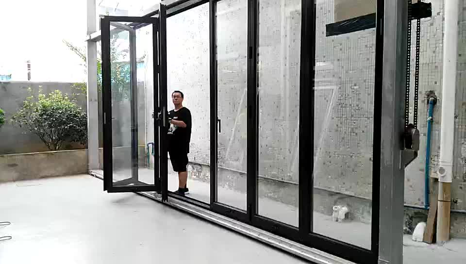 Modern black thermal break aluminum exterior glass folding door bi fold doors