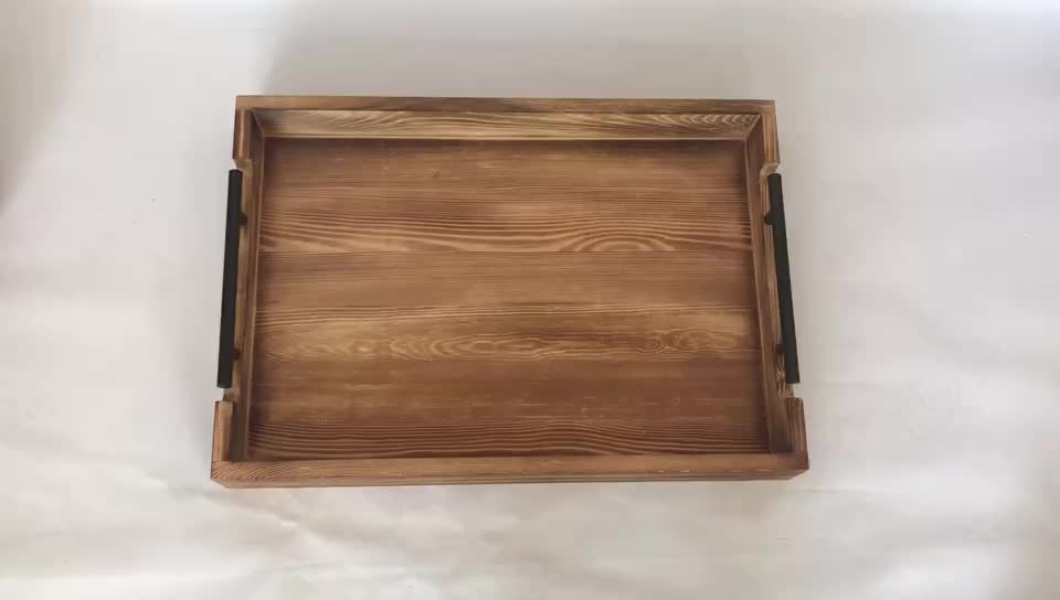 Country Rustic 20 inch Decorative Torched Wood Tray Food Tray Tea Coffee Tray