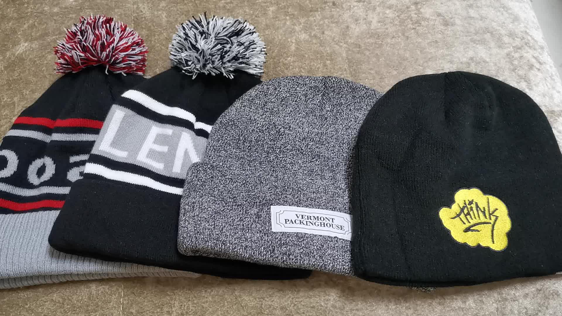 Groothandel gebreide winter hoeden, mannen gebreide hoeden baggy mutsen, custom beanie hoed