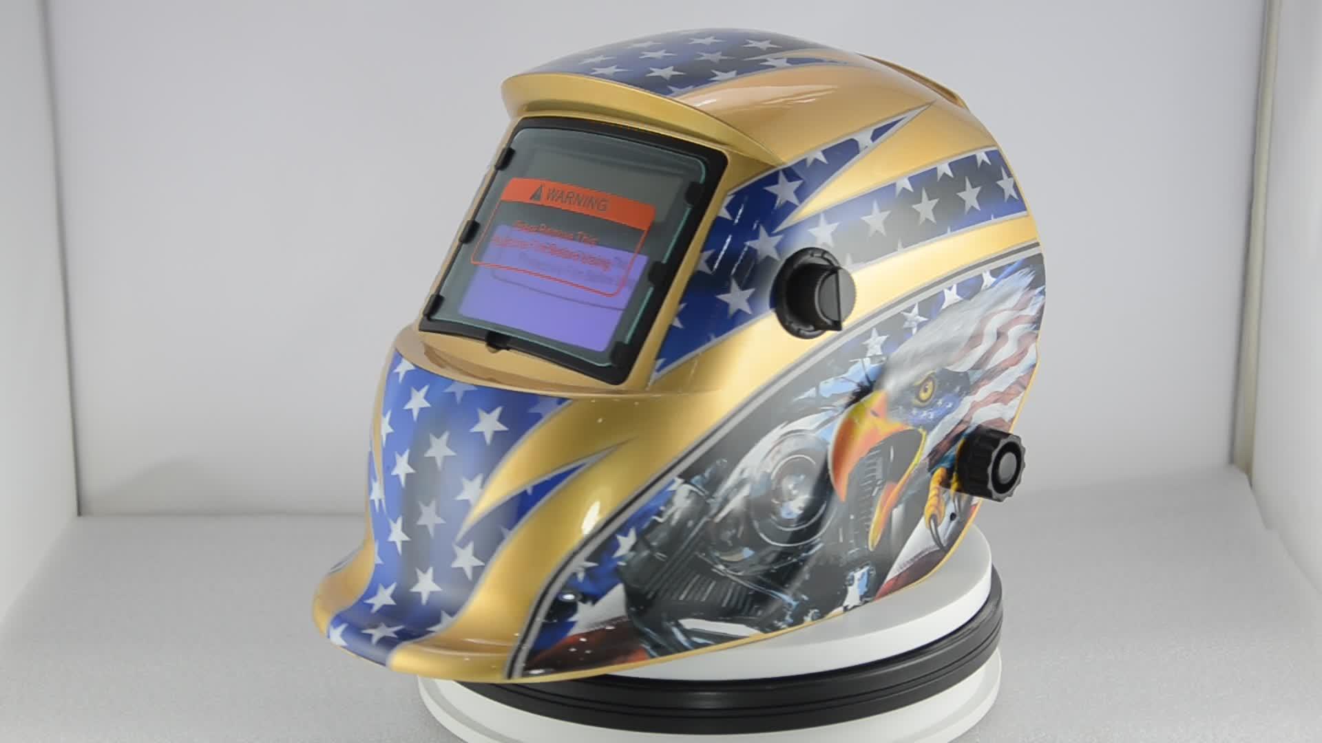 Gold Yellow Engine Eagle ANSI Z87.1 Welding Helmet Solder Mascara