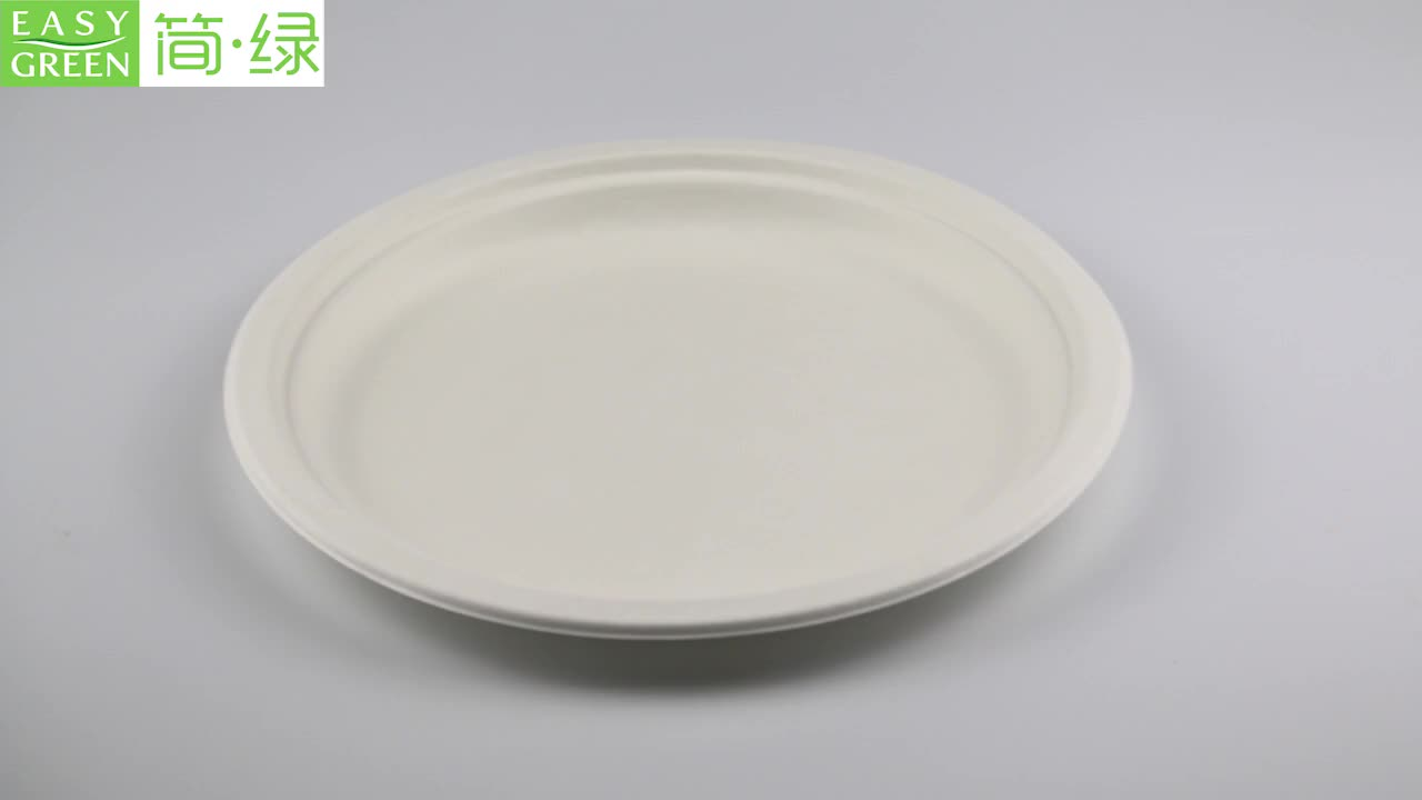 Easy Green Wholesale Round Sugarcane Bagasse Pulp Disposable Biodegradable Plate For Food Packaging