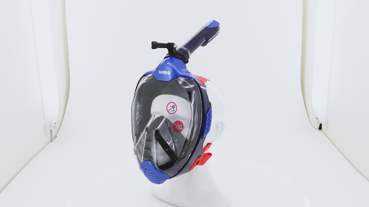 लहर नई डिजाइन 180 तरल सिलिकॉन नयनाभिराम पूरा चेहरा डाइविंग स्नोर्कल मुखौटा