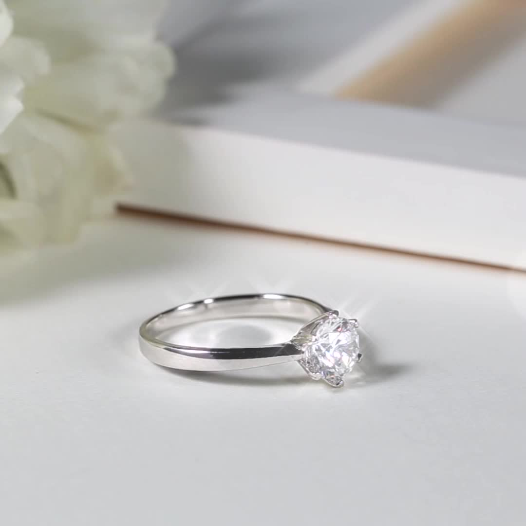 M01A Messi Jewelry heart prong white gold plated S925 sterling silver 1 carat DEF VVS moissanite women ring