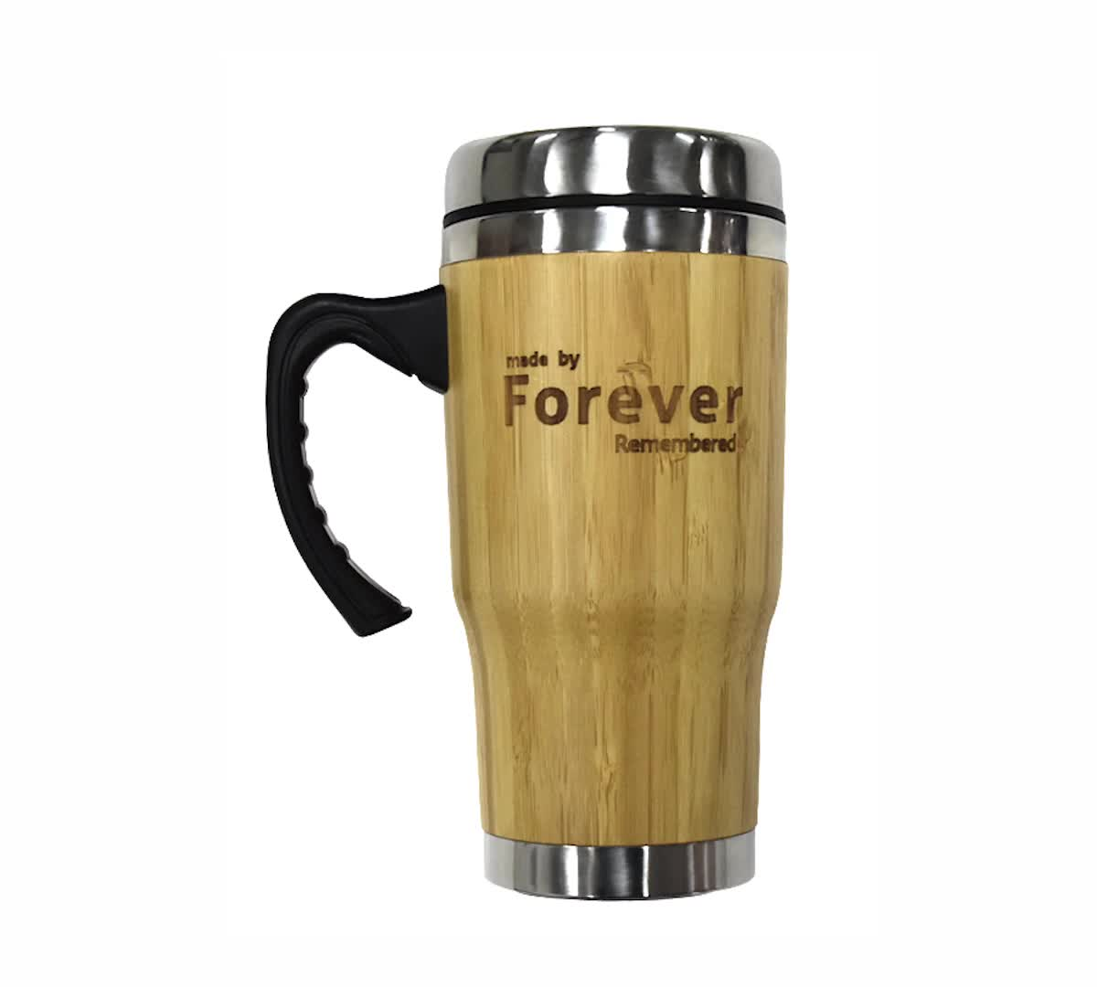 ED5018 410ML External Bamboo Body liner Stainless Steel Coffee Mug With Plastic /Bamboo Handle