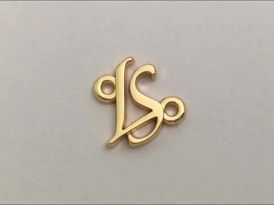 Letters Gold Metal Garment Logo Plate, Custom Sewing Metal Clothes Label Tag with Two Holes for Swimwear