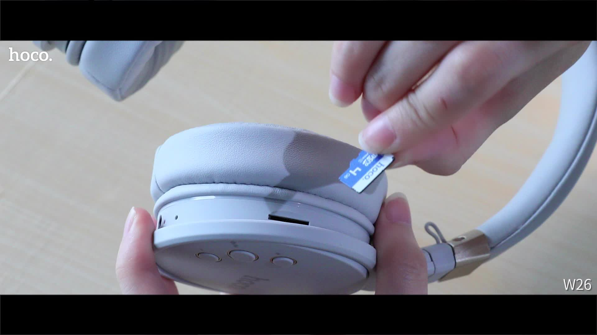 HOCO W26 Prazer Sem Fio Fones De Ouvido cartão Apoio TF/AUX Modo de Reprodução