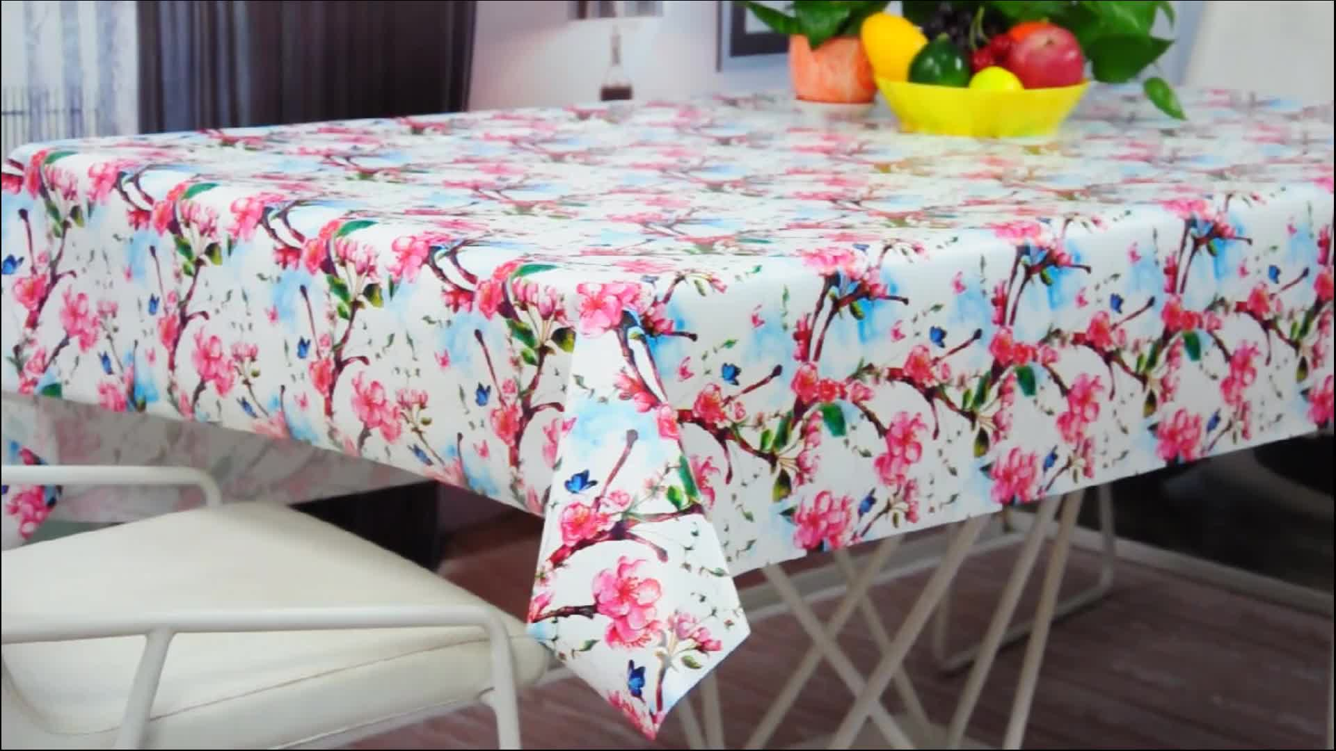 Eco Friendly Waterproof Pvc Tablecloth Pvc Table Cover Food Contact