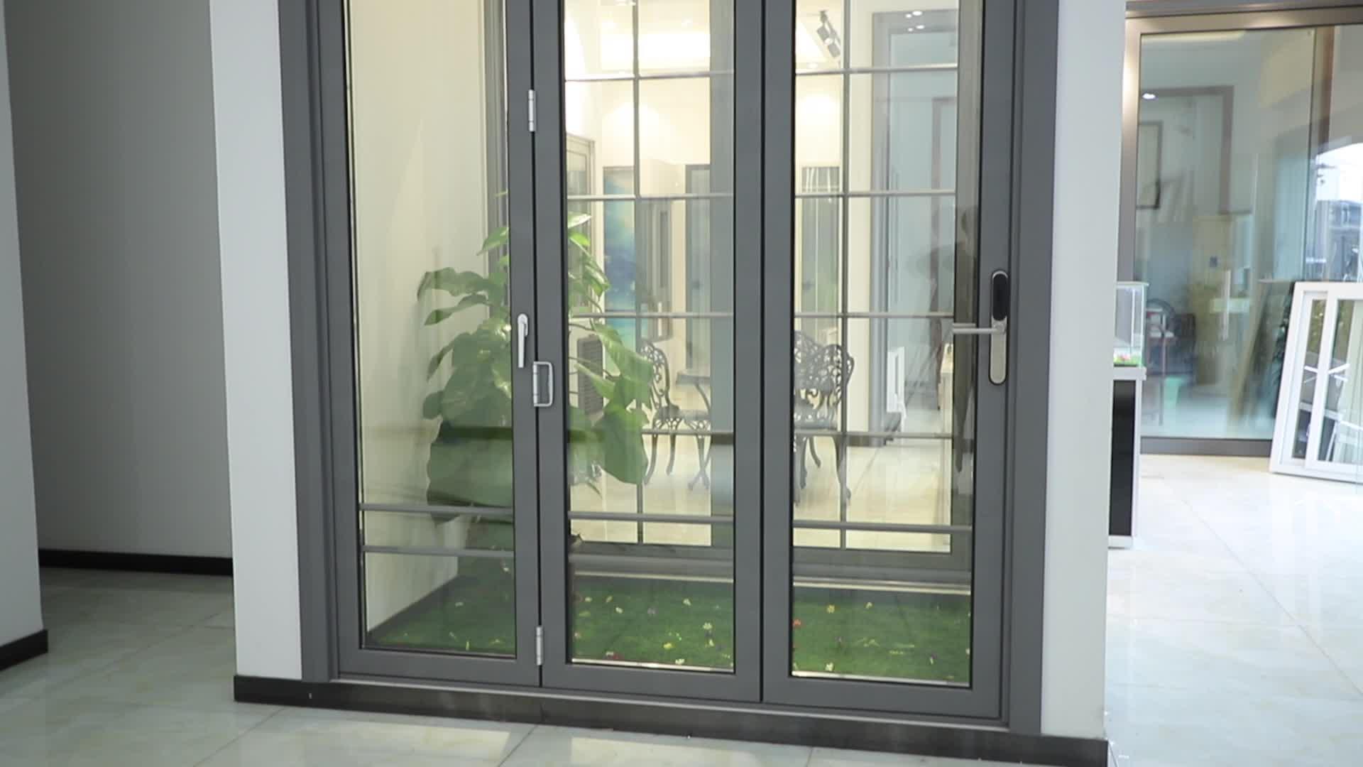 Aluminium Glas Vouwen Patio Deur Patio Exterieur Bifold Deuren Dubbele Beglazing Aluminium Bi Vouwdeuren