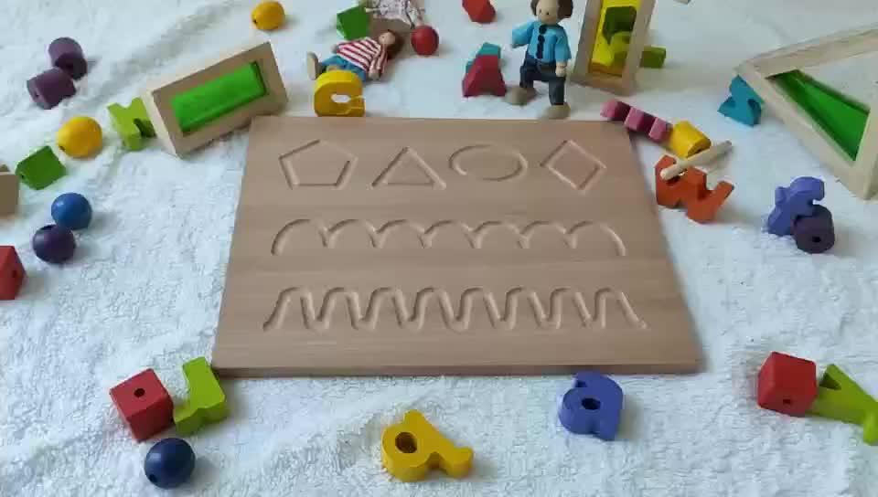 Materiale Didattico Regalo Montessori Giocattolo di Legno Educativo Montessori Matematica Double Sided Numero di Forme di Legno di Rintracciamento Bordo