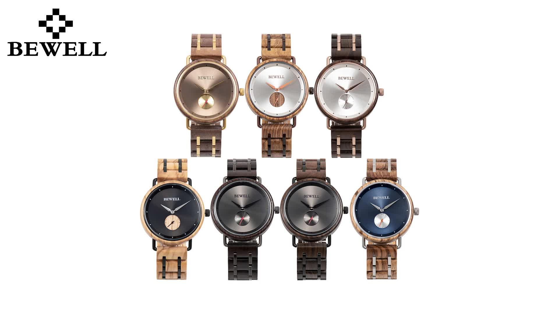 japan Multifunctional movement men's fashion wood steel watches