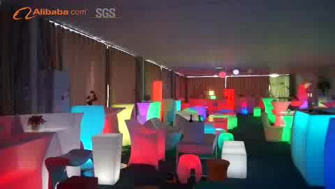2021 customized product Portable Plastic Led Light Up Outdoor LED Furniture Bar Chair LED  Table