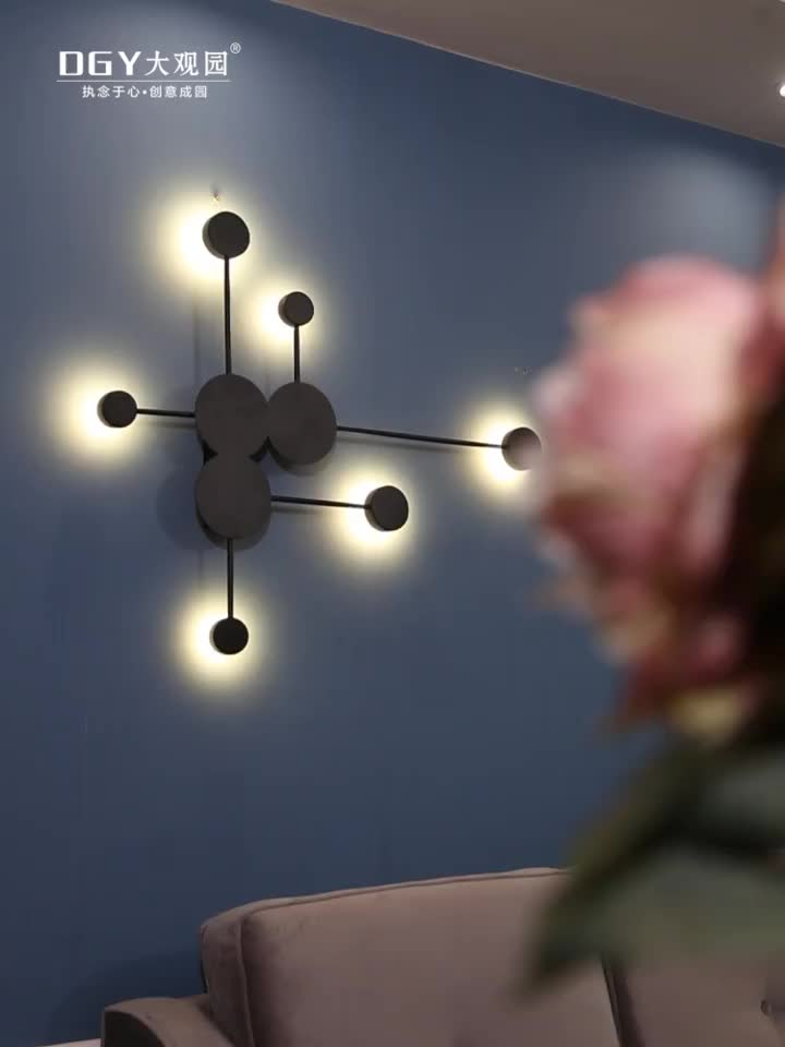 2 3 6 lighting heads branches long arms gold white black round iron acrylic simple modern wall lamp light