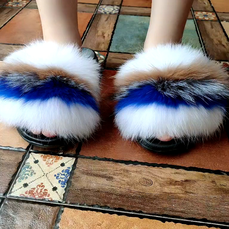 High Quality Natural Fur Soft Sandals Wholesale Women Slides Full Fox Fur Slippers