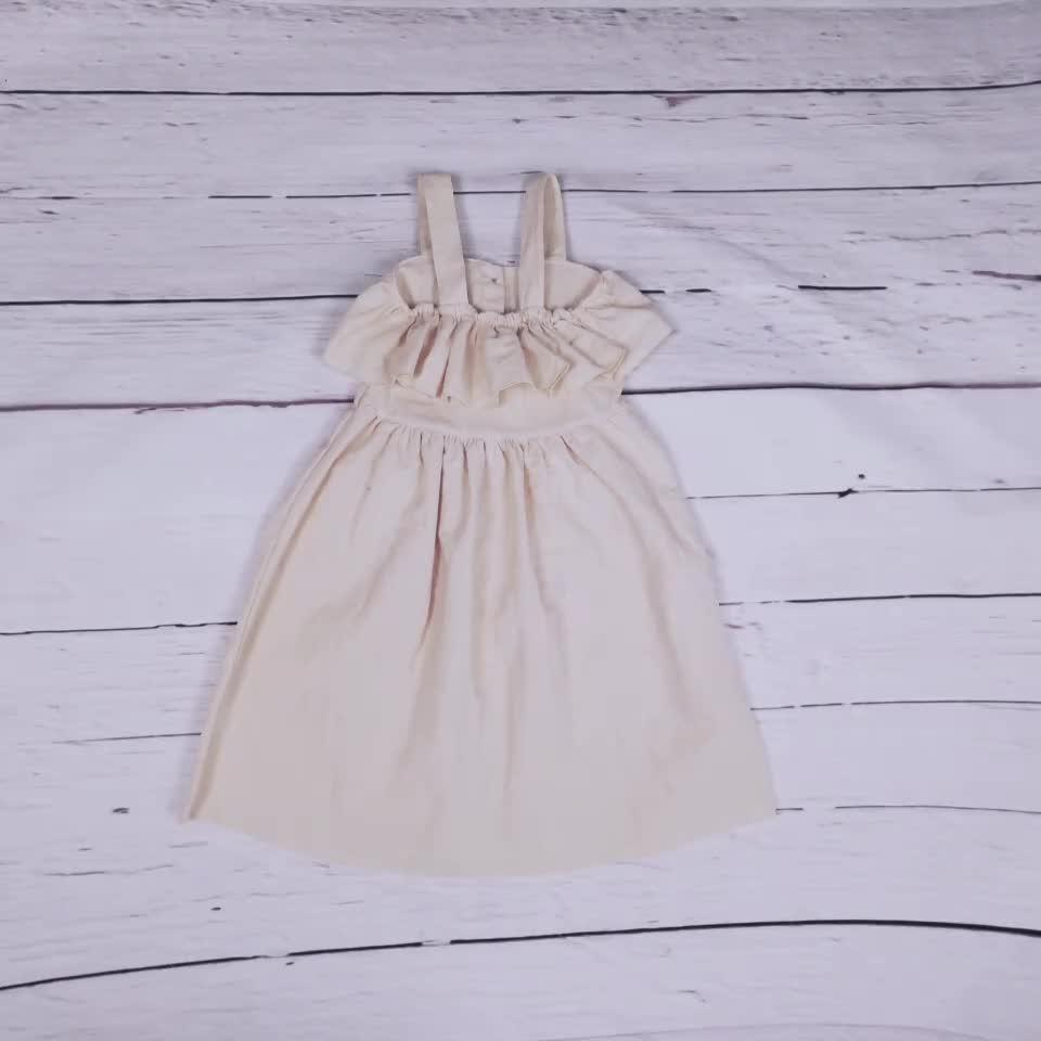 เด็ก frocks ออกแบบ 2019 สมาร์ทสบายๆสำหรับสาวเด็ก especial ผ้าลินินออกแบบชุดปุ่ม