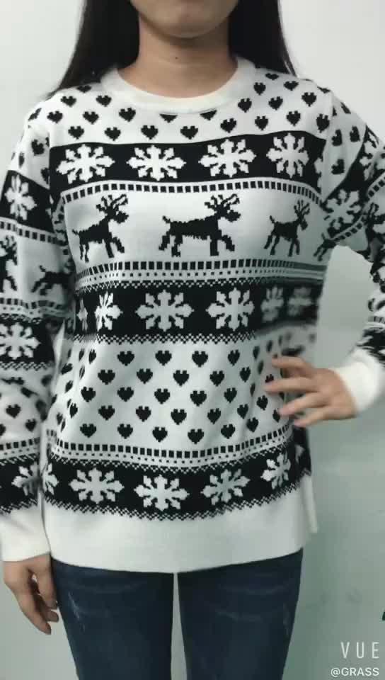 2020 New Design cheaper Autumn Winter Christmas ladies acrylic custom logo Knitted Sweater Woman Sweater