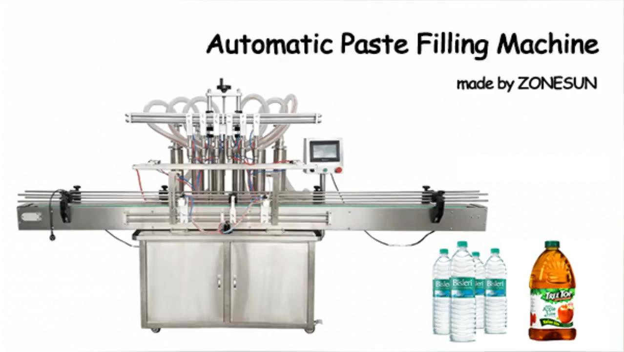 ZONESUN ZS-YT6T-6Y Automatic Pneumatic Fruit Juice Soap Detergent Paste 6Heads Bottle Filling Machine Line With Cheap Price