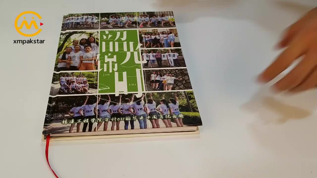 Custom hardcover album of memory photo books with ribbon bookmark