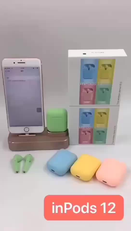 Factory Customize Sports Waterproof Mini TWS  inpods I12 Wireless Earphone With Charging box