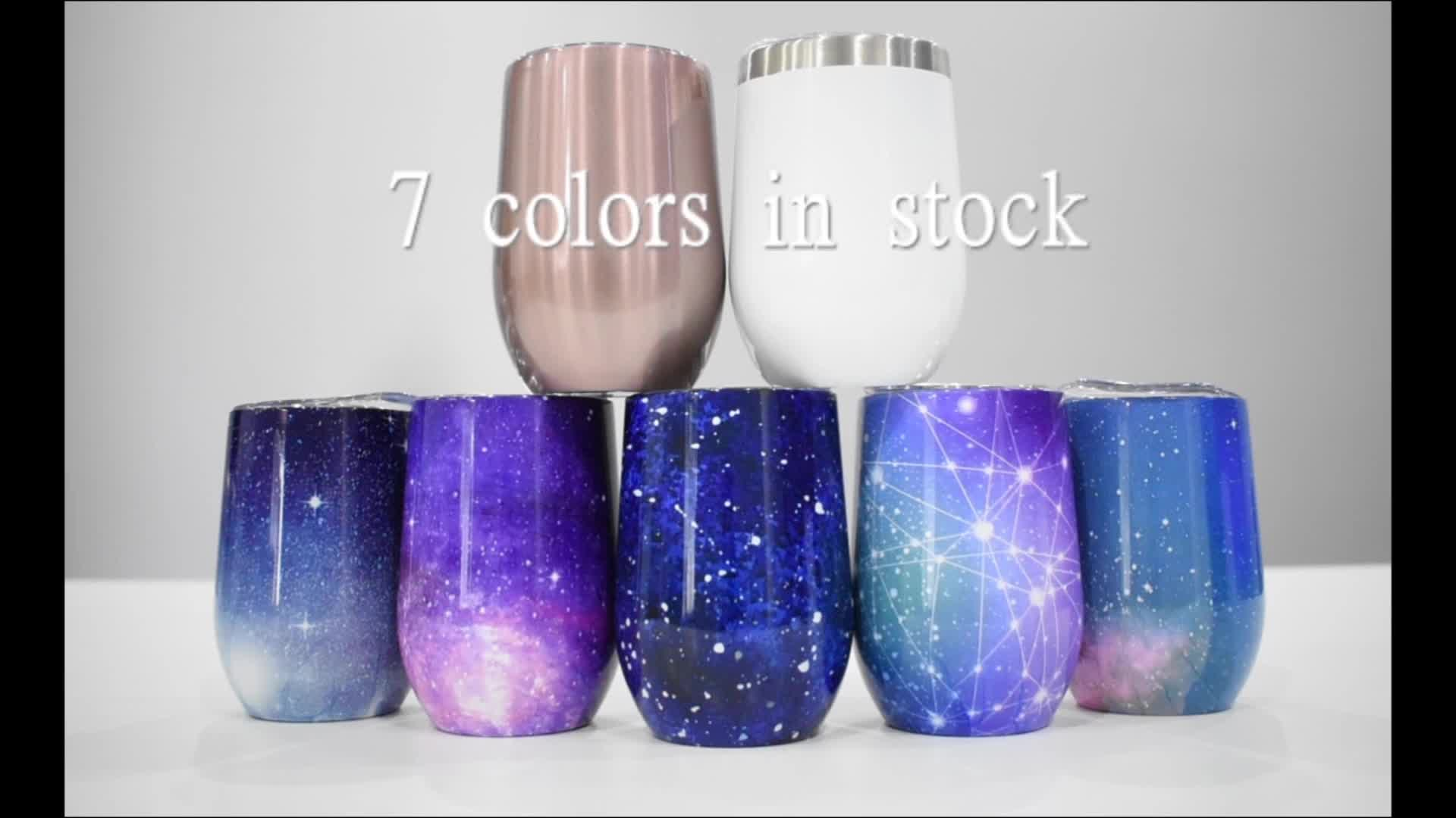 Free Sample !!! 12 Oz Double Wall Vacuum Insulated  Stainless Steel Glitter Wine Cup Tumbler With Lid