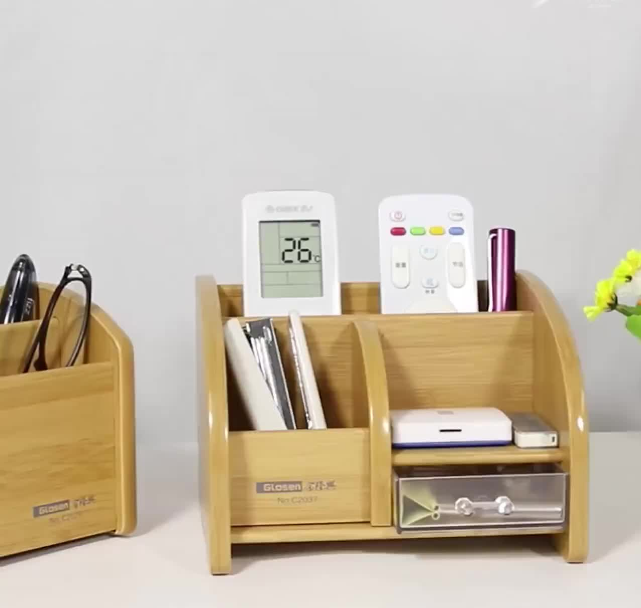 Square Bamboo Office Pen Pencil Holder for Desk Office Desktop Storage Organizer With Drawers