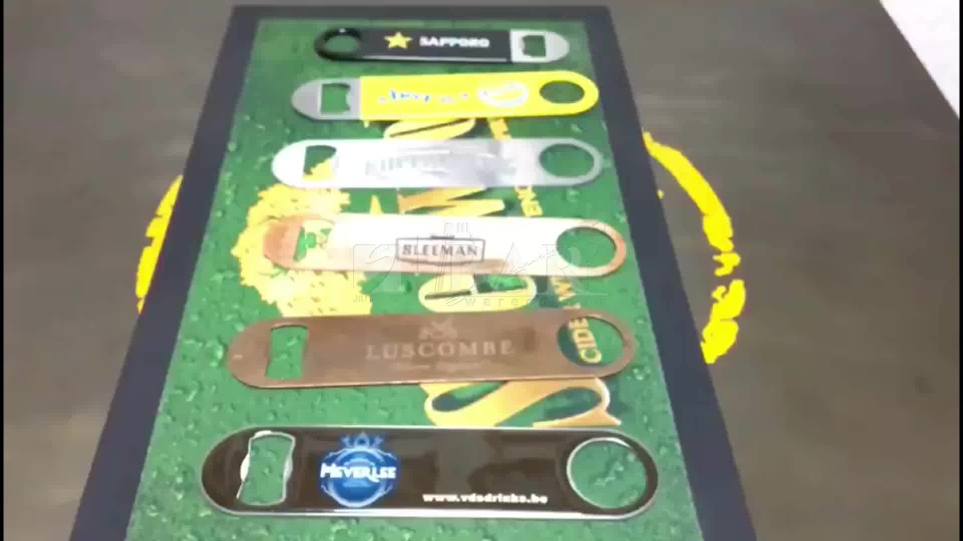 Custom pvc coated painting laser engrave logo stainless steel bar bottle opener blade with sublimation printing