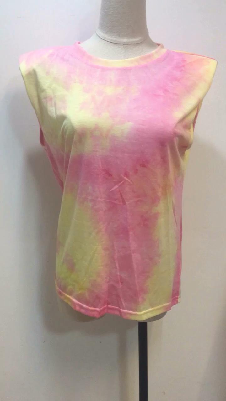 Mangas Ombro Almofada Mulheres Tie-dye Camiseta Senhoras Colete de Verão Das Mulheres Novas Encabeça Blusas E Camisas de T