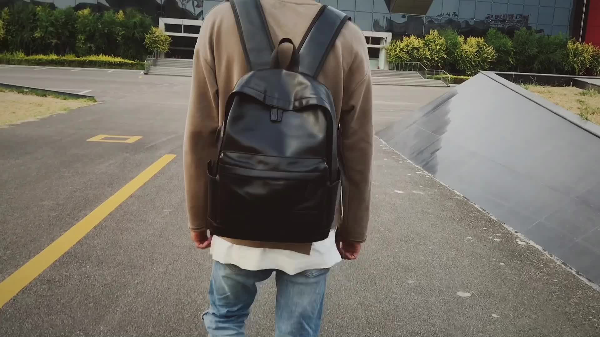 men High quality PU leather backpack laptop backpack made in China