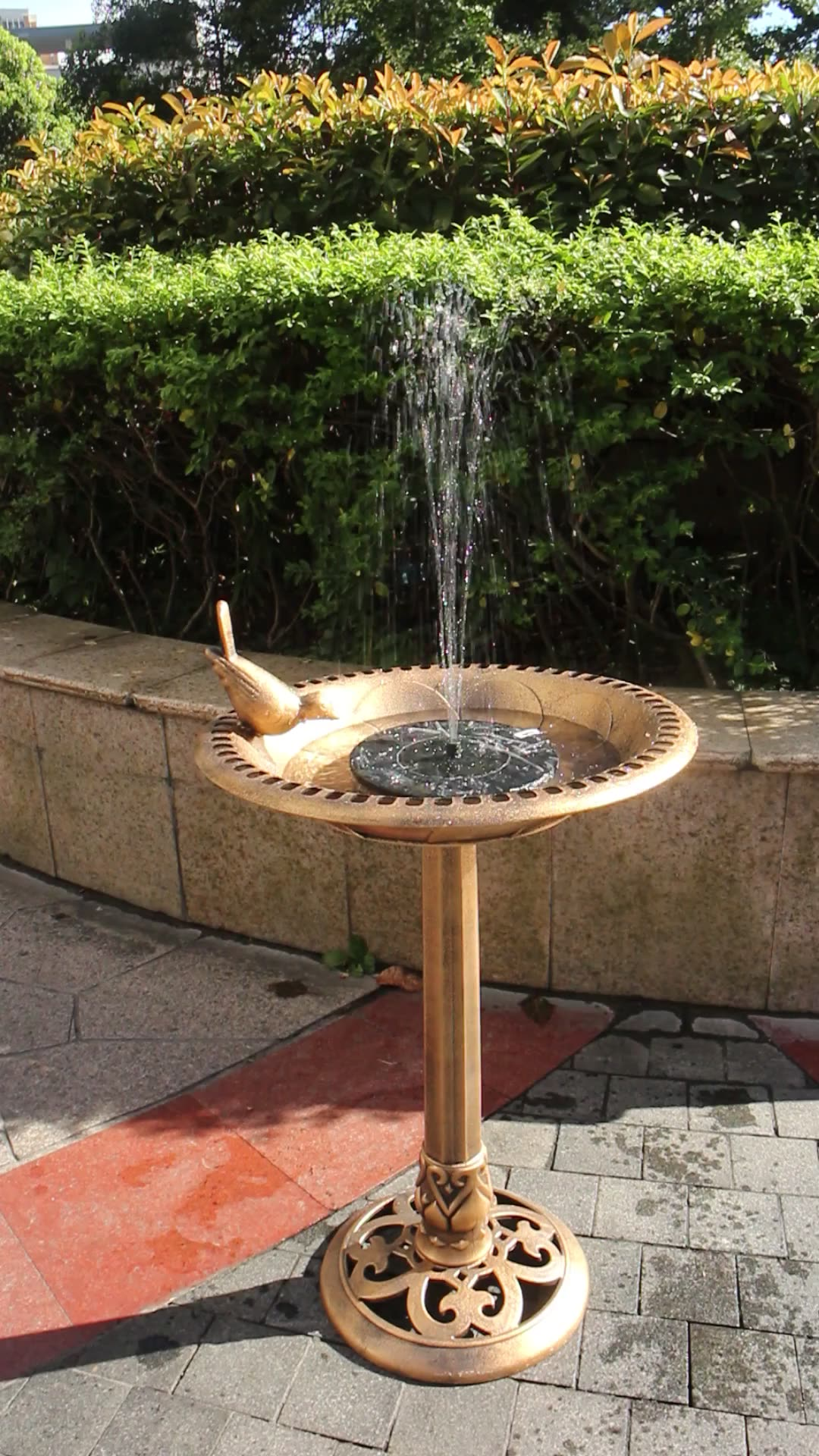 2020 New Solar Garten Jardin Garden Bird Bath Fountain with bird decoration